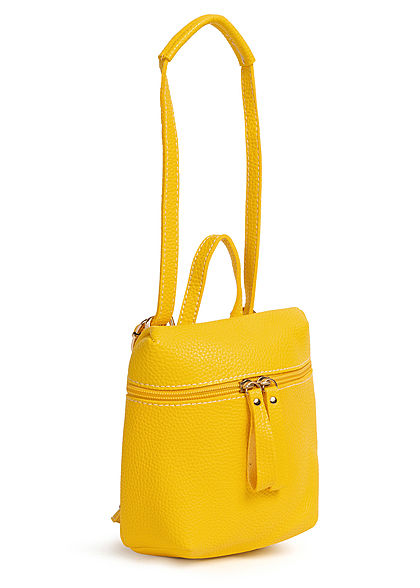 Styleboom Fashion Damen Mini Rucksack Kunstleder ca. 23x19cm gelb