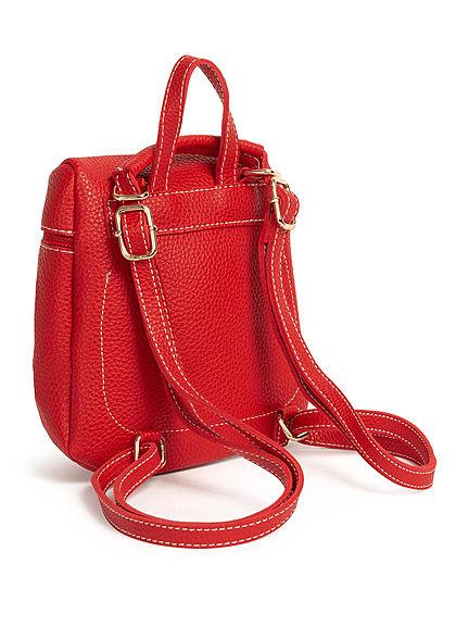 Styleboom Fashion Damen Mini Rucksack Kunstleder ca. 23x19cm rot