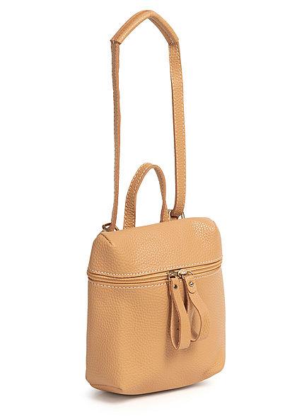 Styleboom Fashion Damen Mini Rucksack Kunstleder ca. 23x19cm camel braun