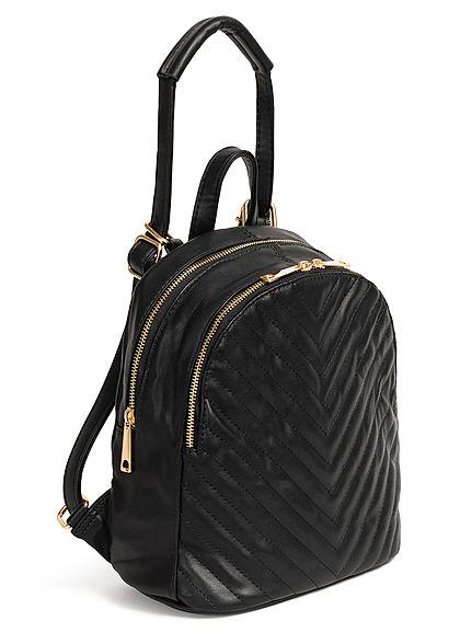 Styleboom Fashion Damen Kleiner Rucksack Kunstleder ca. 31x26cm schwarz