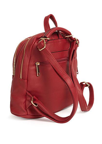 Styleboom Fashion Damen Kleiner Rucksack Kunstleder ca. 31x26cm rot