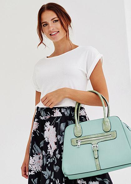 Styleboom Fashion Damen Handtasche Kunstleder ca. 36x28cm mint grün