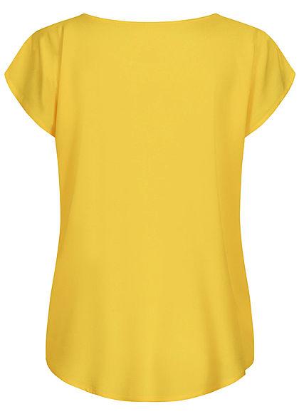 Sublevel Damen leichtes Vokuhila Blusen Shirt runder Saum sunflower gelb