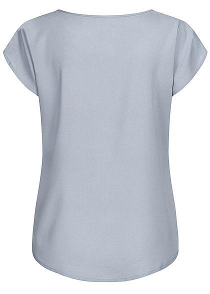 Sublevel Damen leichtes Vokuhila Blusen Shirt runder Saum sky blau grau