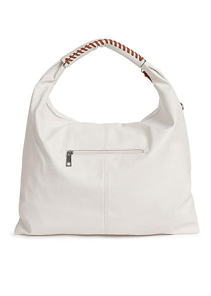 Styleboom Fashion Damen 2-Tone Handtasche Kunstleder ca. 47x36cm weiss