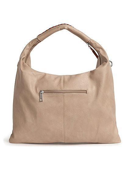 Styleboom Fashion Damen 2-Tone Handtasche Kunstleder ca. 47x36cm apricot beige