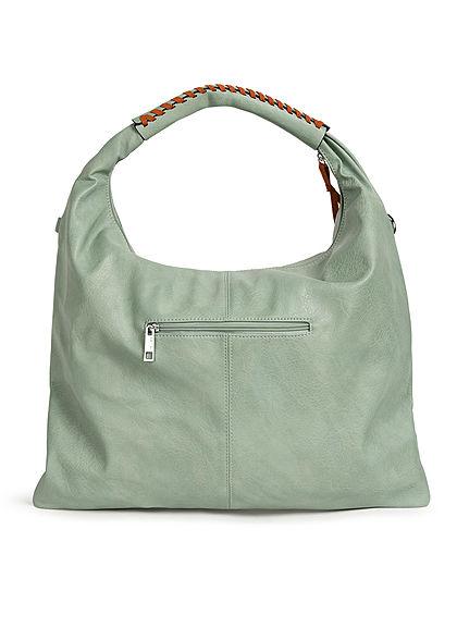 Styleboom Fashion Damen 2-Tone Handtasche Kunstleder ca. 47x36cm mint grün
