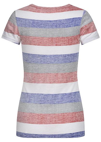 Sublevel Damen Multicolor T-Shirt Streifen Muster mit Knopfleiste cherry rot mc