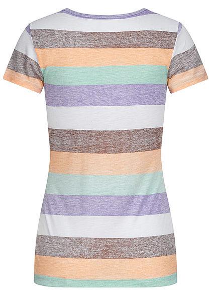 Sublevel Damen Multicolor T-Shirt Streifen Muster mit Knopfleiste weiss violett grün
