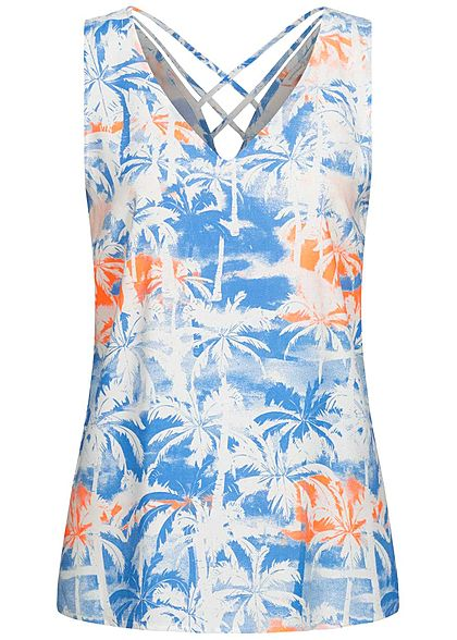 Tom Tailor Damen V-Neck Blusen Top Kreuzdetail hinten Tropical Print blau orange