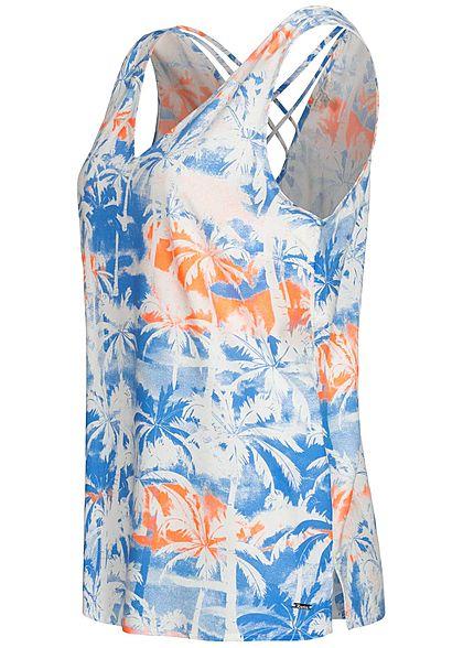 Tom Tailor Damen V-Neck Blusen Top Kreuzdetail hinten Tropical Print blau orange