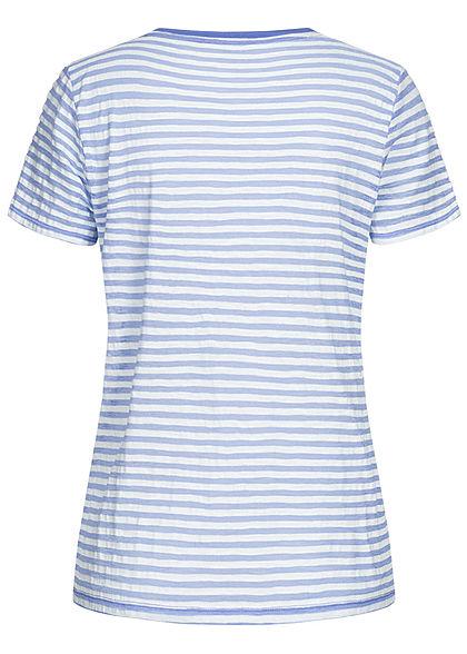 Tom Tailor Damen T-Shirt Streifen Muster blau off weiss