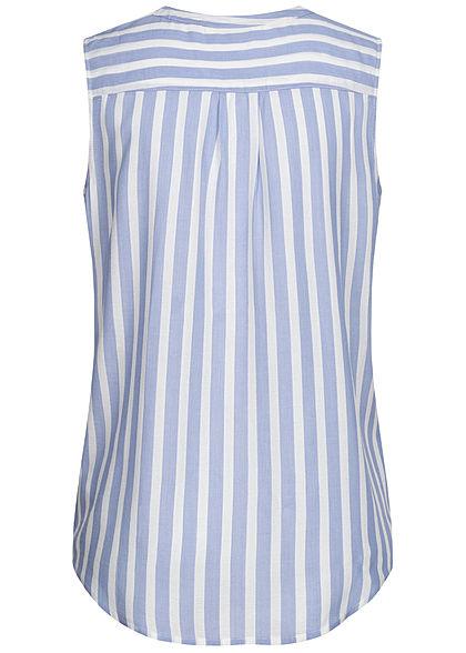 Tom Tailor Damen Blusen Top Knopfleiste Streifen Muster blau off weiss