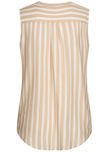 Tom Tailor Damen Blusen Top Knopfleiste Streifen Muster beige off weiss