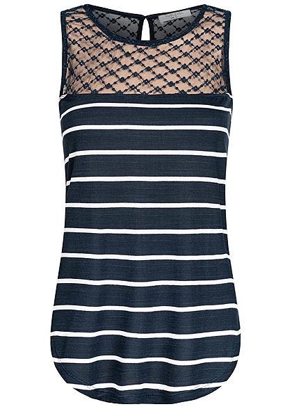 Sublevel Damen Viskose Top Mesheinsatz oben Streifen Muster navy blau weiss
