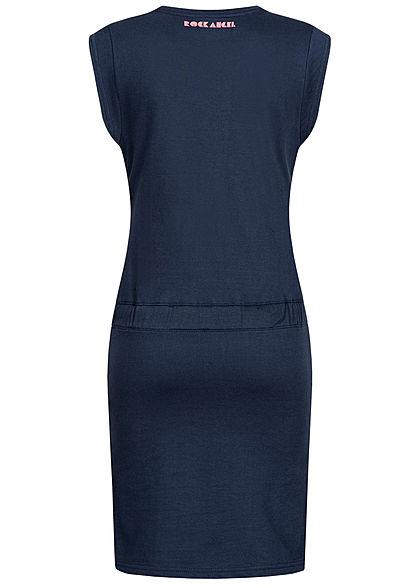 Rock Angel Damen Midi Kleid Taillenzug Schlitz seitlich deep night blau
