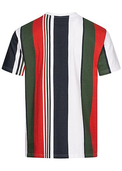 Urban Classics Herren Oversized Multicolor T-Shirt Streifen Muster navy