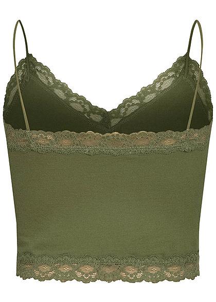 Hailys Damen V-Neck Cropped Spitzen Top khaki grün