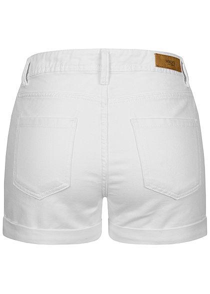 Hailys Damen High Waist Shorts 5-Pockets weiss denim