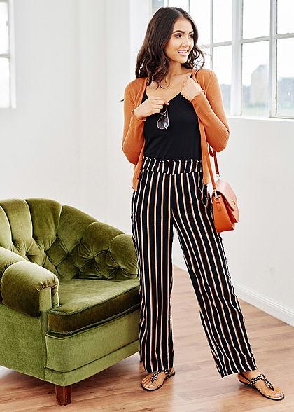 Hailys Damen Sommer Hose 2-Pockets Streifen Muster weiter Schnitt schwarz braun