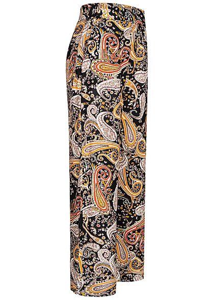 Hailys Damen Sommer Hose 2-Pockets Paisley Print weiter Schnitt schwarz