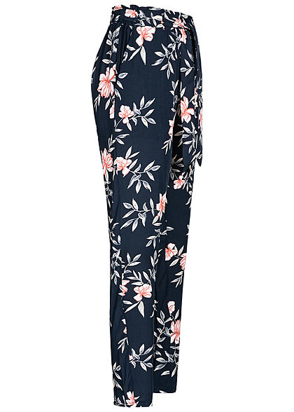 Hailys Damen Paperbag Sommerhose 2-Pockets Floraler Print inkl. Gürtel navy blau