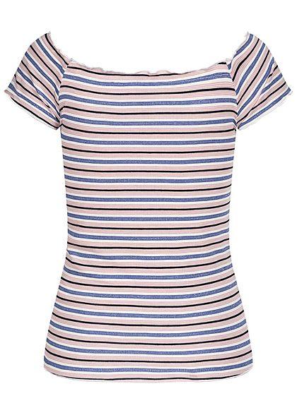 Hailys Damen Ribbed V-Neck Frill Shirt Streifen Muster blau rosa weiss