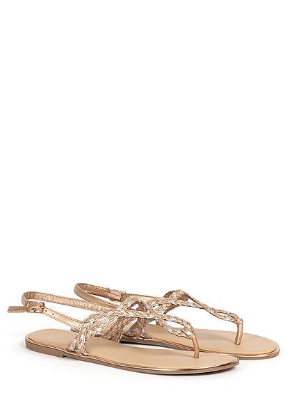 Hailys Damen Schuh Sandale Zehensteg 2-Tone Flechtriemen rose gold