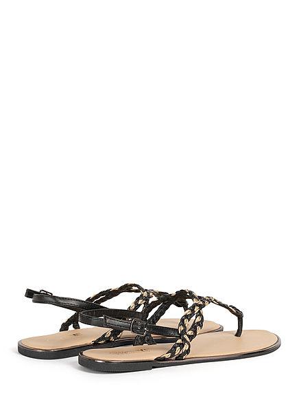 Hailys Damen Schuh Sandale Zehensteg 2-Tone Flechtriemen schwarz