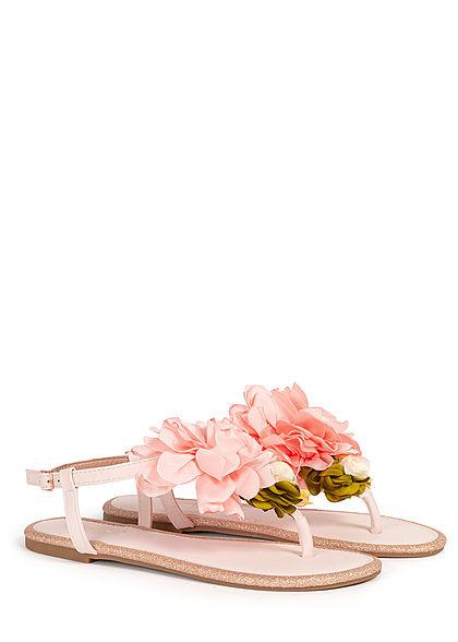 Hailys Damen Schuh Sandale Zehensteg Blumen Applikation Glitzer Deko Perlen rosa