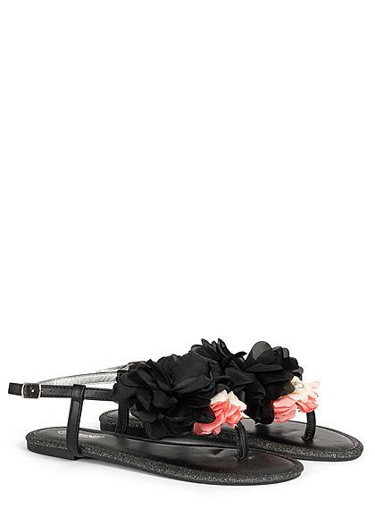 Hailys Damen Schuh Sandale Zehensteg Blumen Applikation Glitzer Deko Perlen schwarz