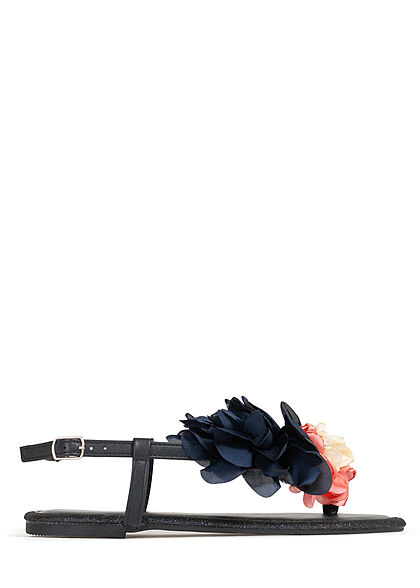 Hailys Damen Schuh Sandale Zehensteg Blumen Applikation Glitzer Deko Perlen navy blau