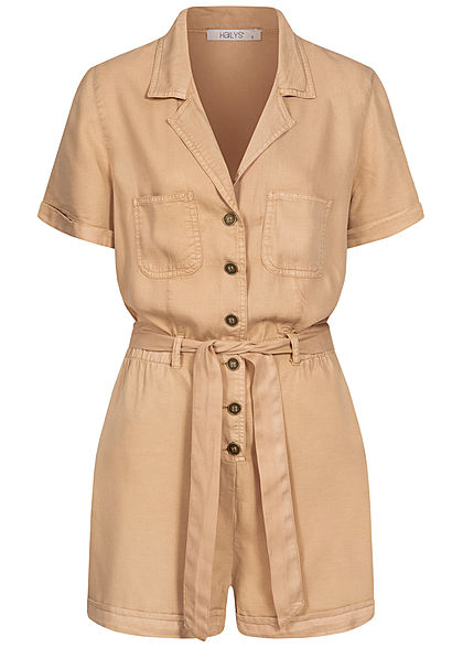 Hailys Damen V-Neck Romper Playsuit 2-Pockets inkl. Bindegürtel beige - Art.-Nr.: 20063331