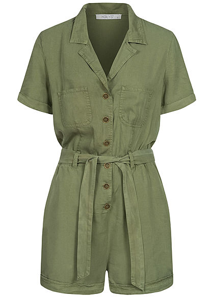 Hailys Damen V-Neck Romper Playsuit 2-Pockets inkl. Bindegürtel khaki grün - Art.-Nr.: 20063332