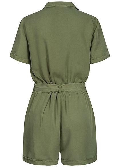 Hailys Damen V-Neck Romper Playsuit 2-Pockets inkl. Bindegürtel khaki grün