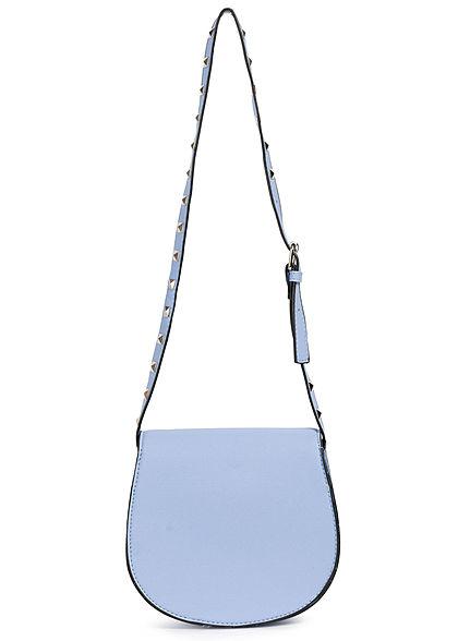 Hailys Damen Mini Kunstleder Handtasche mit Deko Nieten ca. 20x20cm hell blau