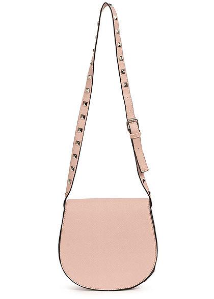 Hailys Damen Mini Kunstleder Handtasche mit Deko Nieten ca. 20x20cm hell rosa