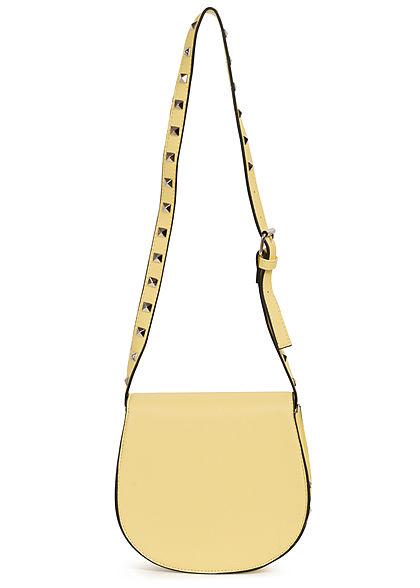 Hailys Damen Mini Kunstleder Handtasche mit Deko Nieten ca. 20x20cm hell gelb