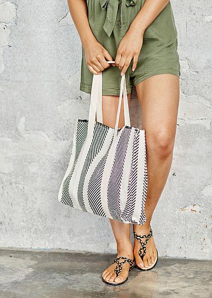 Hailys Damen Shopper Handtasche 37x35cm Druckknopf schwarz weiss