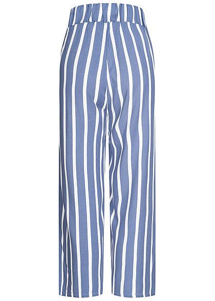 Hailys Damen 3/4 Sommerhose 2-Pockets Streifen Muster blau weiss