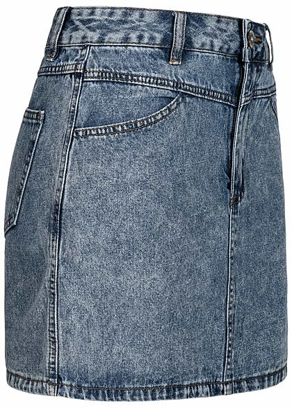 Hailys Damen Jeans Mini Rock 4-Pockets acid blau denim