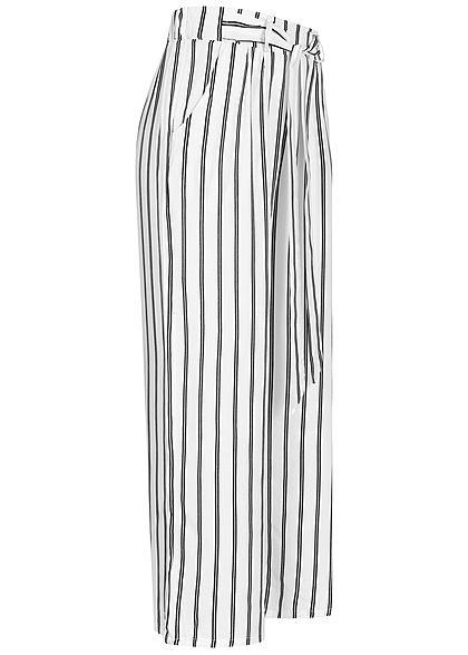 Hailys Damen 3/4 Sommerhose 2-Pockets Streifen Muster off weiss schwarz
