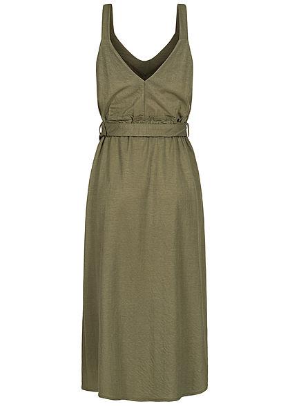 Hailys Damen V-Neck Paperbag Midi Kleid inkl. Bindegürtel Schlitz vorne khaki grün