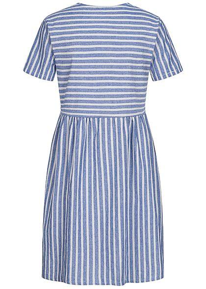 Hailys Damen V-Neck Kleid Leinen Optik Streifen Muster Knopfleiste blau weiss