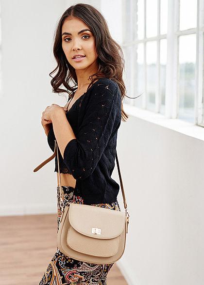 Hailys Damen Mini Kunstleder Handtasche Struktur Muster 21x24cm beige gold
