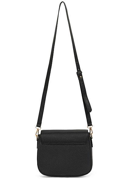 Hailys Damen Mini Kunstleder Handtasche Struktur Muster 21x24cm schwarz  gold