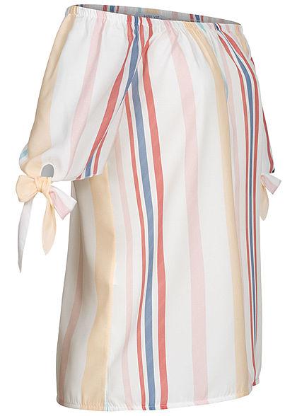 Hailys Damen 1/2 Arm Off- Shoulder Bluse Streifen Muster Schleife am Ärmel multicolor