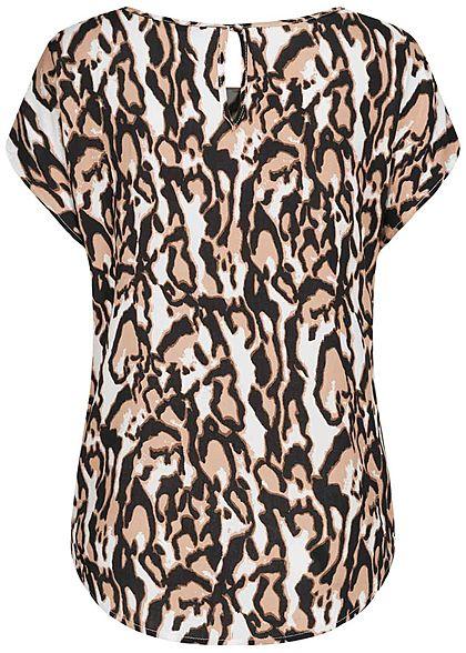 Hailys Damen Blusen Shirt Leo Print Vokuhila braun schwarz beige