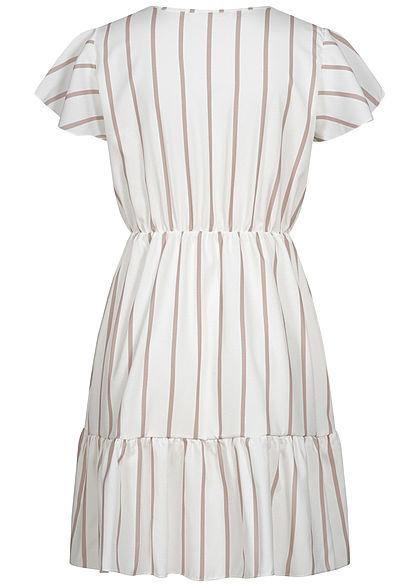 Fresh Lemons Damen V-Neck Kleid Deko Knopfleiste Streifen Muster weiss rosa