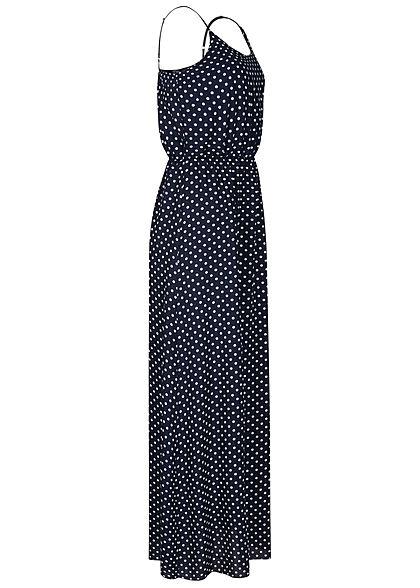 Fresh Lemons Damen Viskose Maxi Kleid Taillengummibund Punkte Muster navy blau weiss